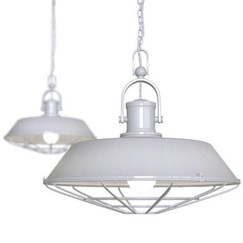 Brewer Cage Industrial  Pendant Light Pale Grey