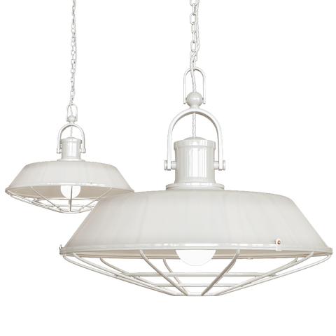 Brewer Cage Industrial  Pendant Light Clay White Cream
