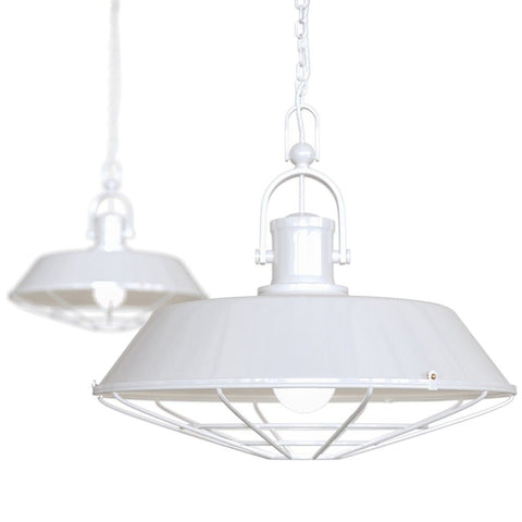 Brewer Cage Industrial  Pendant Light Pure White