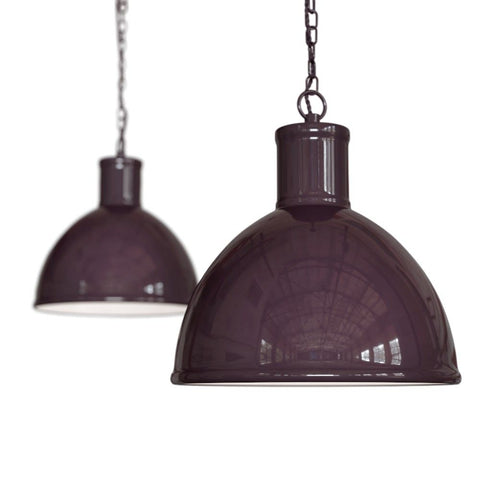 Wardour Industrial Bay Pendant Light Mulberry Red Burgundy
