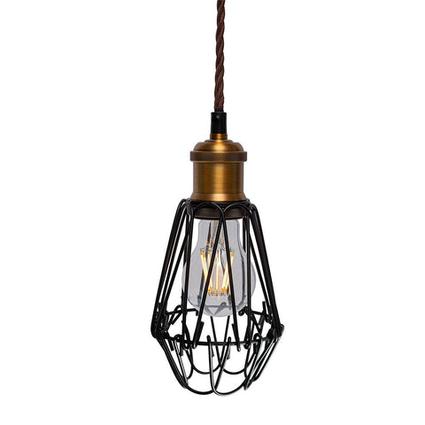 Denman Industrial Vintage Brass Caged Teardrop Pendant Light