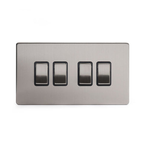Screwless Brushed Chrome 4 Gang Intermediate Light Switch