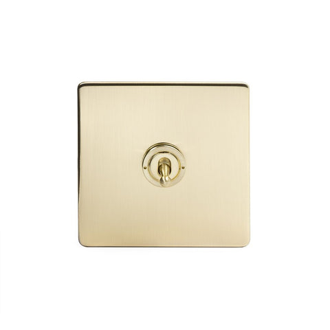 Screwless Brushed Brass 1 Gang Intermediate Toggle Light Switch - Black