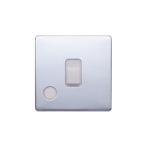 Screwless Raised - Polished Chrome 20A 1 Gang Double Pole Switch Flex Outlet - White Trim