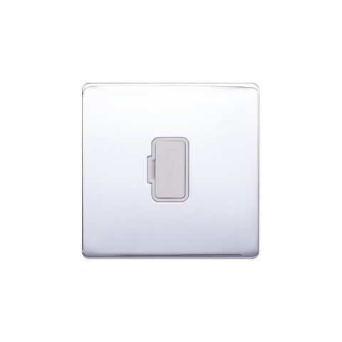 Screwless Raised - Polished Chrome 13A UnSwitched Fuse Connection Unit - White Trim