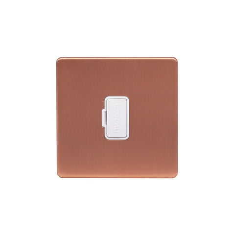 Screwless Raised - Brushed Copper 13A UnSwitched Fuse Connection Unit - White Trim