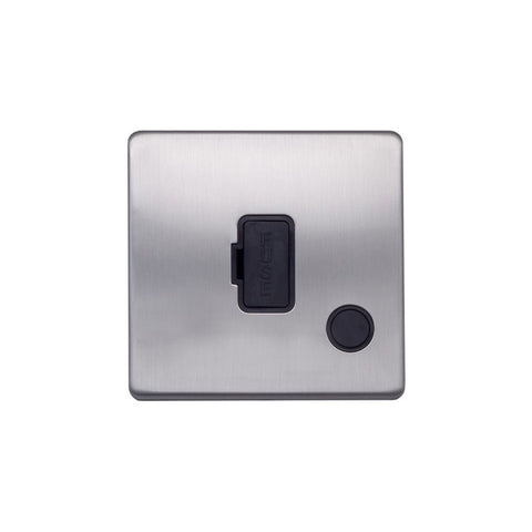Screwless Raised - Brushed Chrome 13A UnSwitched Connection Unit Flex Outlet - Black Trim