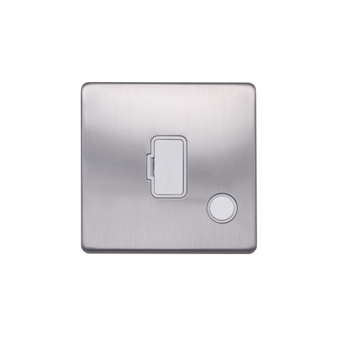 Screwless Raised - Brushed Chrome 13A UnSwitched Connection Unit Flex Outlet - White Trim