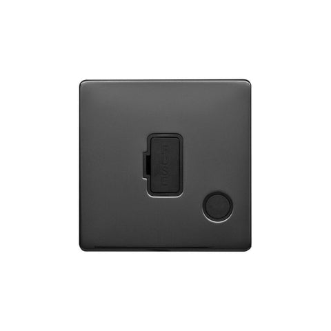 Screwless Raised - Black Nickel 13A UnSwitched Connection Unit Flex Outlet - Black Trim