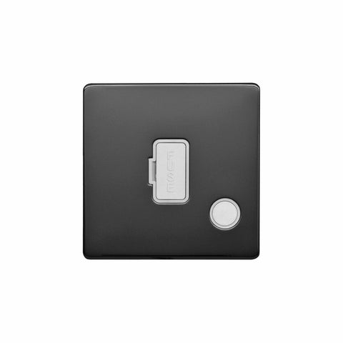 Screwless Raised - Black Nickel 13A UnSwitched Connection Unit Flex Outlet - White Trim
