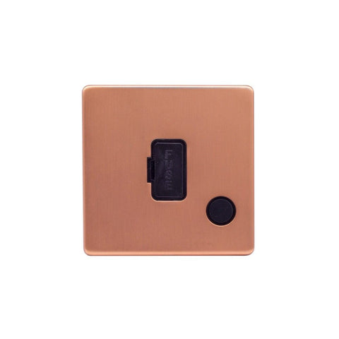 Screwless Raised - Brushed Copper 13A UnSwitched Connection Unit Flex Outlet - Black Trim