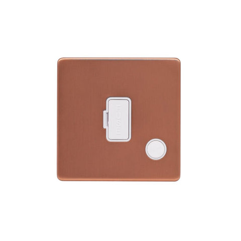 Screwless Raised - Brushed Copper 13A UnSwitched Connection Unit Flex Outlet - White Trim