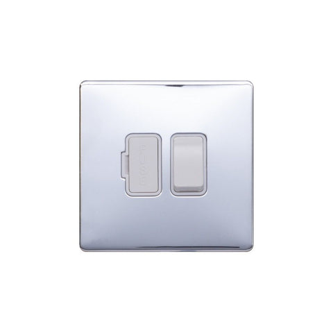 Screwless Raised - Polished Chrome 13A Switched Fuse Connection Unit - White Trim