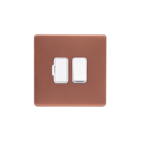 Screwless Raised - Brushed Copper 13A Switched Fuse Connection Unit - White Trim