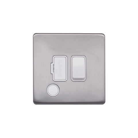 Screwless Raised - Brushed Chrome 13A Switched Fuse Connection Unit Flex Outlet - White Trim