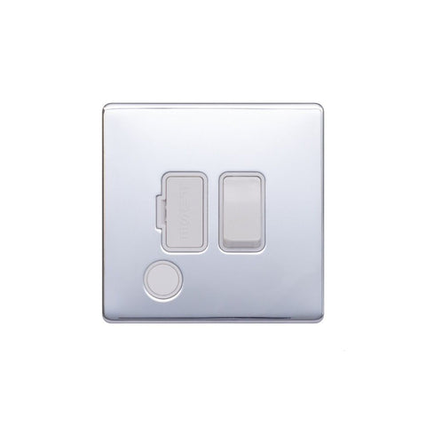Screwless Raised - Polished Chrome 13A Switched Fuse Connection Unit Flex Outlet - White Trim