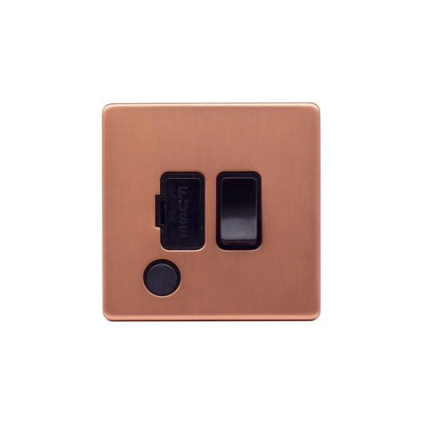 Screwless Raised - Brushed Copper 13A Switched Fuse Connection Unit Flex Outlet - Black Trim