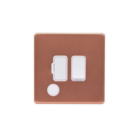 Screwless Raised - Brushed Copper 13A Switched Fuse Connection Unit Flex Outlet - White Trim