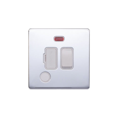 Screwless Raised - Polished Chrome 13A Switched Fuse Connection Unit & Flex Outlet/Neon- White Trim
