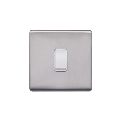 Screwless Raised - Brushed Chrome 10A 1 Gang 2 Way Light Switch - White Trim