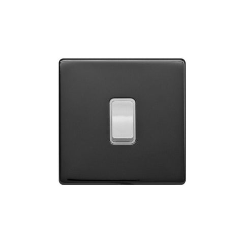 Screwless Raised - Black Nickel 1 Gang Intermediate Light Switch - White Trim