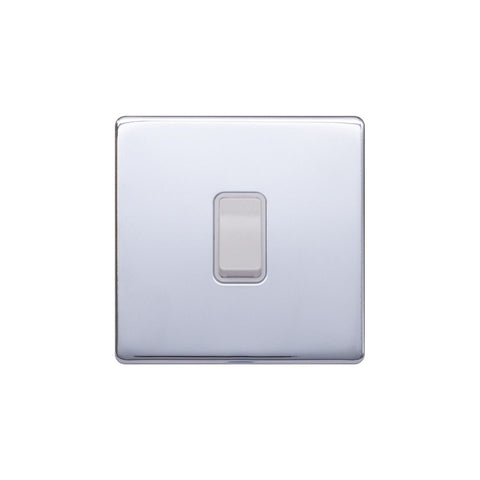 Screwless Raised - Polished Chrome 10A 1 Gang 2 Way Light Switch - White Trim