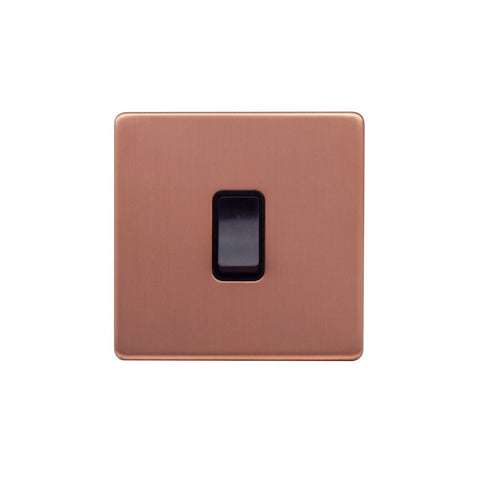 Screwless Raised - Brushed Copper 1 Gang Intermediate Light Switch - Black Trim