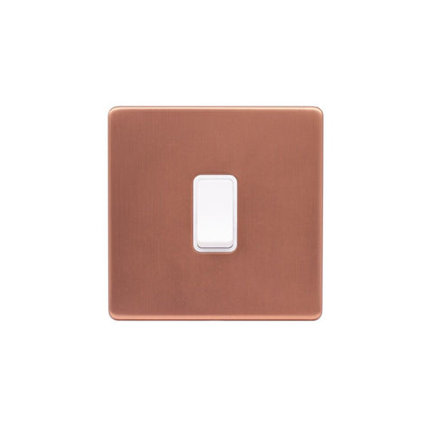Screwless Raised - Brushed Copper 1 Gang Intermediate Light Switch - White Trim