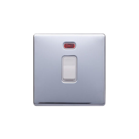 Screwless Raised - Polished Chrome 20A 1 Gang Double Pole Switch & Neon-White Trim - White Trim