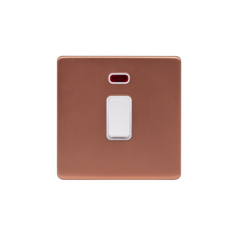Screwless Raised - Brushed Copper 20A 1 Gang Double Pole Switch & Neon-White Trim - White Trim