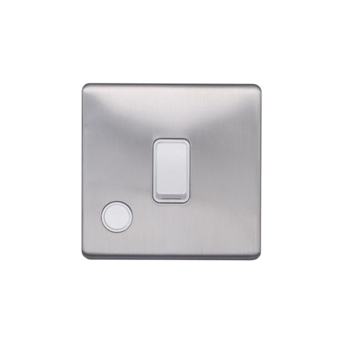Screwless Raised - Brushed Chrome 20A 1 Gang Double Pole Switch Flex Outlet - White Trim