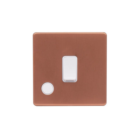 Screwless Raised - Brushed Copper 20A 1 Gang Double Pole Switch Flex Outlet - White Trim