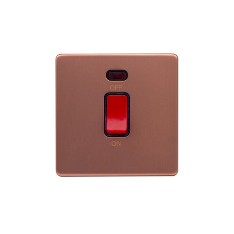 Screwless Raised - Brushed Copper 45A 1 Gang Double Pole Switch, Single Plate - Black Trim