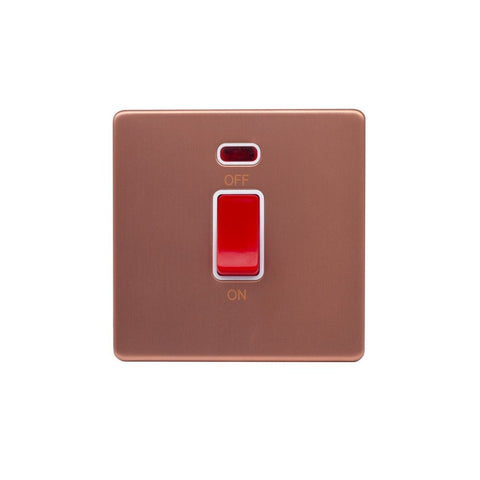 Screwless Raised - Brushed Copper 45A 1 Gang Double Pole Switch, Single Plate - White Trim