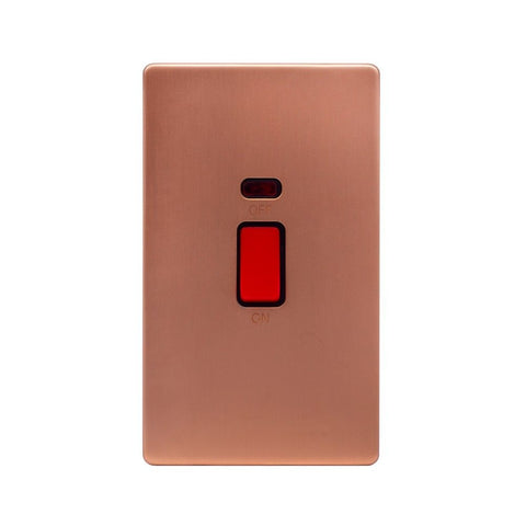 Screwless Raised - Brushed Copper 45A 1 Gang Double Pole Switch & Neon, Large Plate - Black Trim