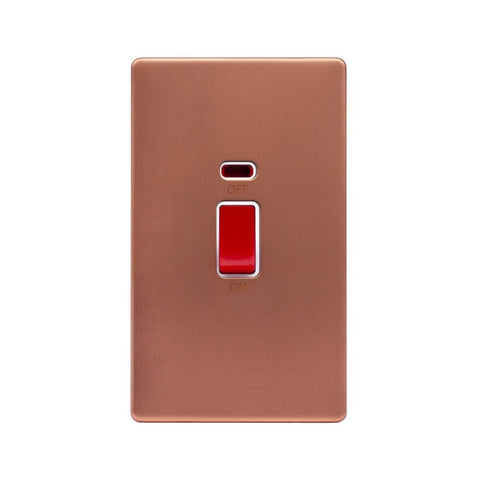 Screwless Raised - Brushed Copper 45A 1 Gang Double Pole Switch & Neon, Large Plate - White Trim