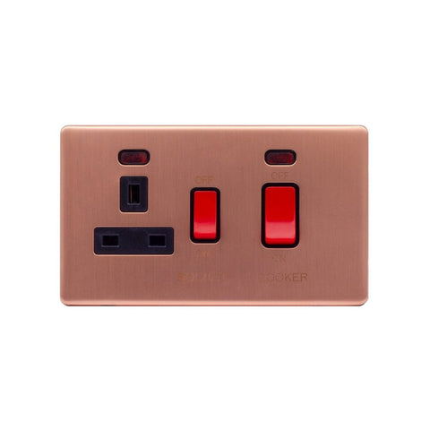 Screwless Raised - Brushed Copper 45A Cooker Control Unit & Neon- Black Trim