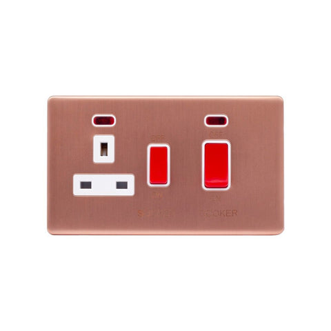 Screwless Raised - Brushed Copper 45A Cooker Control Unit & Neon- White Trim