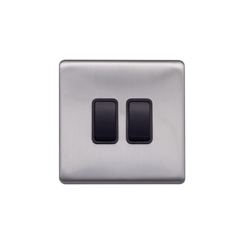 Screwless Raised - Brushed Chrome 10A 2 Gang 2 Way Light Switch - Black Trim