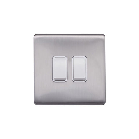 Screwless Raised - Brushed Chrome 10A 2 Gang 2 Way Light Switch - White Trim