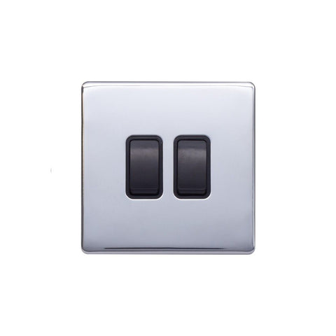 Screwless Raised - Polished Chrome 10A 2 Gang 2 Way Light Switch - Black Trim