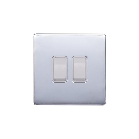 Screwless Raised - Polished Chrome 10A 2 Gang 2 Way Light Switch - White Trim