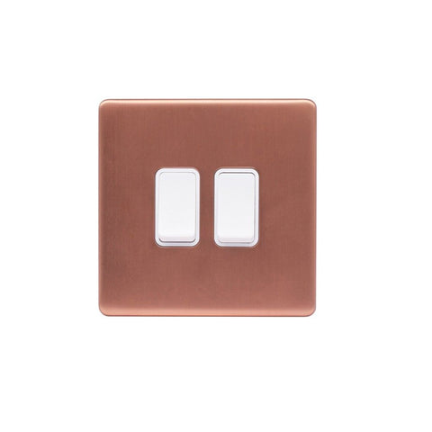Screwless Raised - Brushed Copper 10A 2 Gang 2 Way Light Switch - White Trim