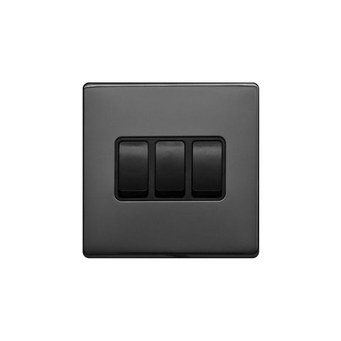 Screwless Raised - Black Nickel 10A 3 Gang 2 Way Light Switch - Black Trim
