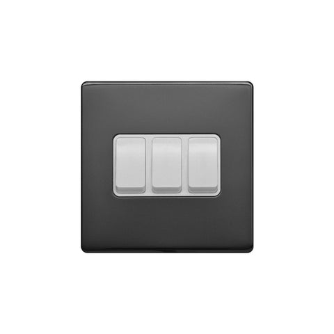 Screwless Raised - Black Nickel 10A 3 Gang 2 Way Light Switch - White Trim