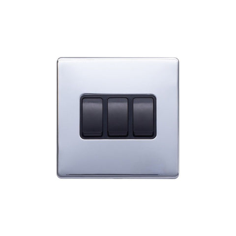Screwless Raised - Polished Chrome 10A 3 Gang 2 Way Light Switch - Black Trim