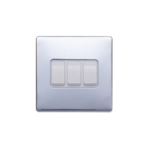 Screwless Raised - Polished Chrome 10A 3 Gang 2 Way Light Switch - White Trim