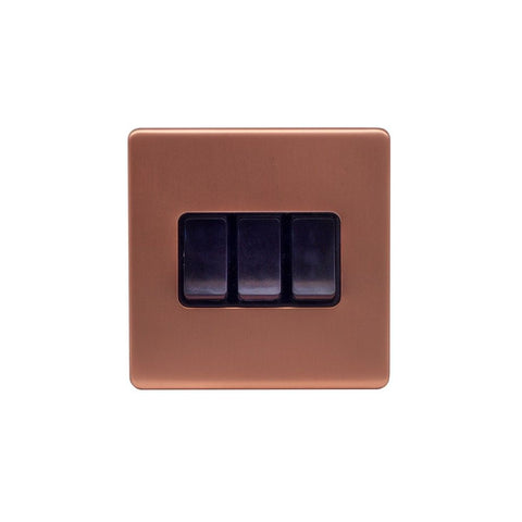 Screwless Raised - Brushed Copper 10A 3 Gang 2 Way Light Switch - Black Trim
