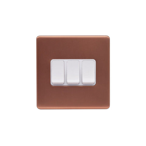 Screwless Raised - Brushed Copper 10A 3 Gang 2 Way Light Switch - White Trim