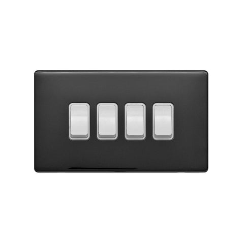 Screwless Raised - Black Nickel 10A 4 Gang 2 Way Light Switch - White Trim